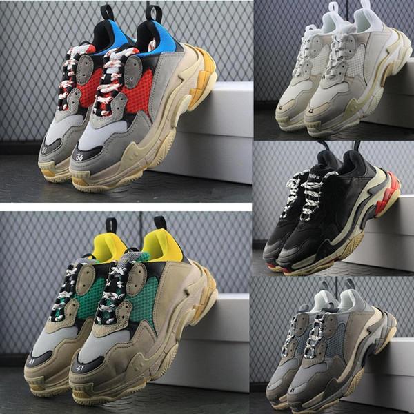 Yeni 2018 Üçlü S Ayakkabı Erkek Kadın Sneaker Yüksek Kalite Karışık renkler Kalın Topuk Büyükbaba Baba Eğitmen Üçlü-S Rahat Ayakkabılar Ile Asansör Ayakkabı
