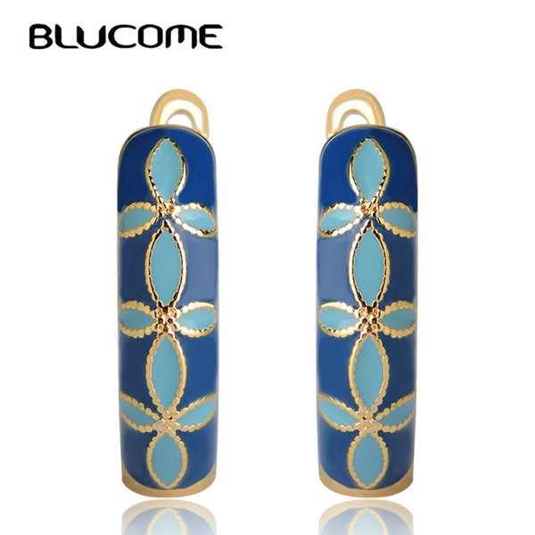 small Blucome Classic Orange Flower Shape Enamel Stud Copper Soft Pins D Hooks Small Earrings For Women Girls Party Jewelry