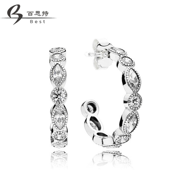 BEST 100% 925 Sterling Silver Original 290724CZ ALLURING BRILLIANT MARQUISE EARRINGS, CLEAR CZ Women Fashion Jewelry Free Shippi