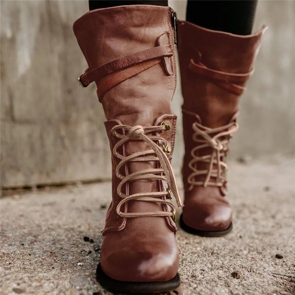 western style wild women boots for ladies square laceup low heel rivets shoes rome middle tube zipper boots knight shoes