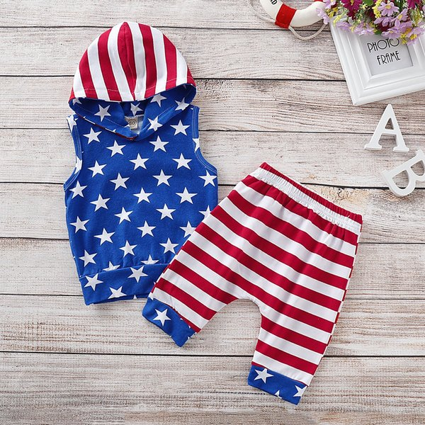 4th of July Designer Toddler Baby Boys Sleeveless Hoodies Suits Stars Printing Strips Shorts 2pieces Set Child Girls Outfits for 0-3T