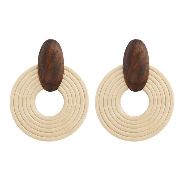 Handmade Big Round Pendant Drop Earrings For Women Wooden Ethnic Statement Earrings Party Jewelry Gift