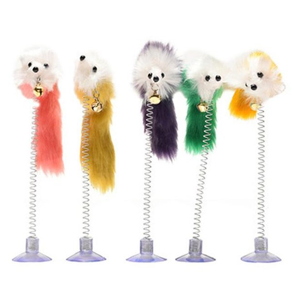 Random Colour Plastic Cat Toys Feather Funny Cat Mice Shape 20 x 10cm False Mouse Pet Products Bottom Sucker Elastic