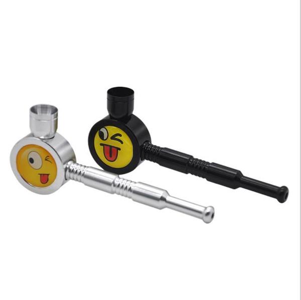 Nouveau tuyau de tuyau en alliage d'aluminium de tuyau en métal façonnant le motif de visage de sourire en métal facile à nettoyer le tuyau