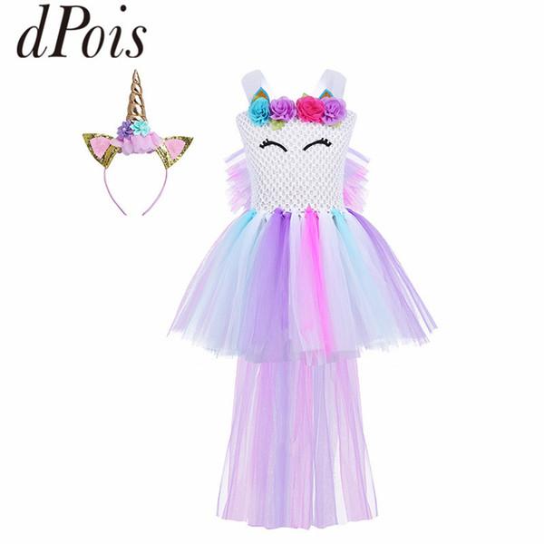 DPOIS Girls Flower Cartoon Animal Hair Hoop Mesh Pastel Princess Tutu Dress Kids Halloween Xmas Carnival Cosplay Party Costume
