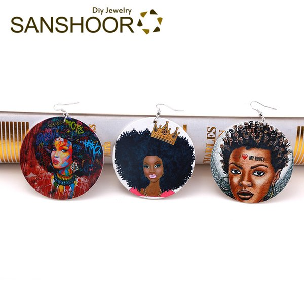 Drop Earrings SANSHOOR 6cm African Wooden Drop Earrings With Afro Crown Hair Roots Pattern Afrocentric Bohemia Jewelry 6Pairs/lot