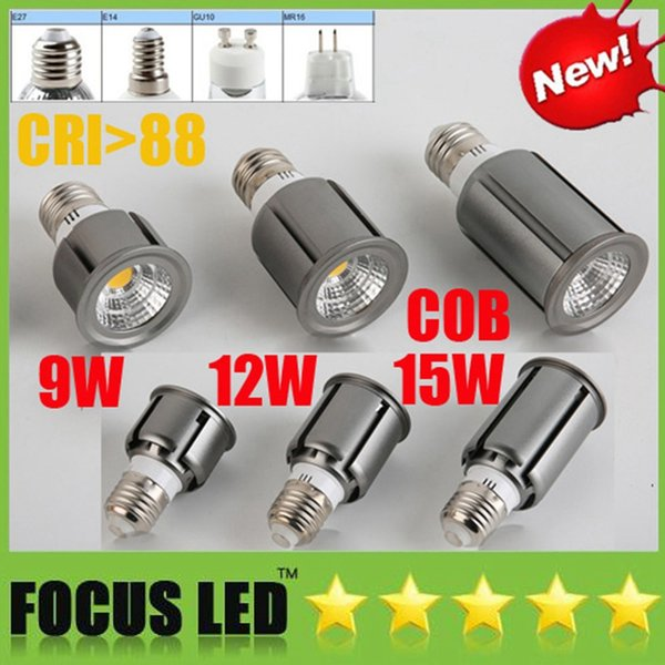 COB Bombillas de luz led 9W 12W 15W Luz de punto led regulable GU10 MR16 E27 E14 GU5.3 potlight Downlight Bombilla Ventana Escaparate Luces de exhibición UL