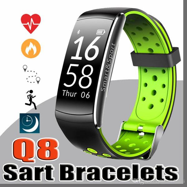 Q8 Fitness Tracker Smart Watch Pressione sanguigna Frequenza cardiaca Sonno Telecamera a distanza Monitor dell'ossigeno Smart Wristband Bracelet for Andriod ios C-SH
