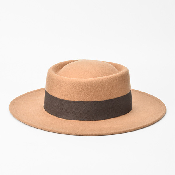 New round flat-topped wool felted eaves hat,Fashionable flat-topped woolen hat for ladies in spring, autumn and winter
