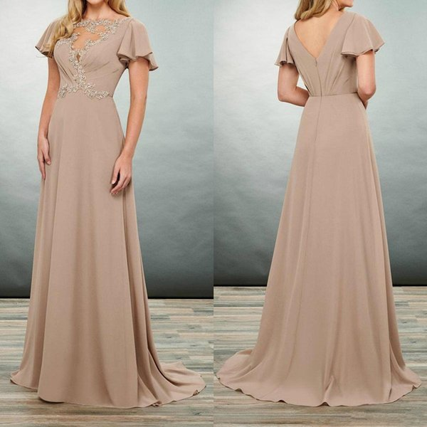 Spring Mother Of The Bride Dresses 2020.Elegant Mother Of The Bride Dresses 2020 Short Sleeves Chiffon Evening Prom Party Gowns Floor Length A Line Wedding Guest Dress Spring Mother Of The