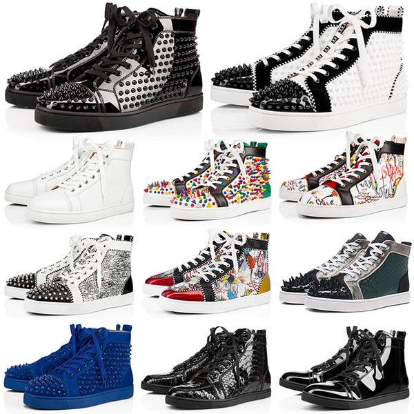 Acheter Shoes Marque De Marque Cloutée Chaussures À Crampons Pour Hommes Femmes Party Lovers Baskets En Cuir Véritable 36 46 De $152.86 Du