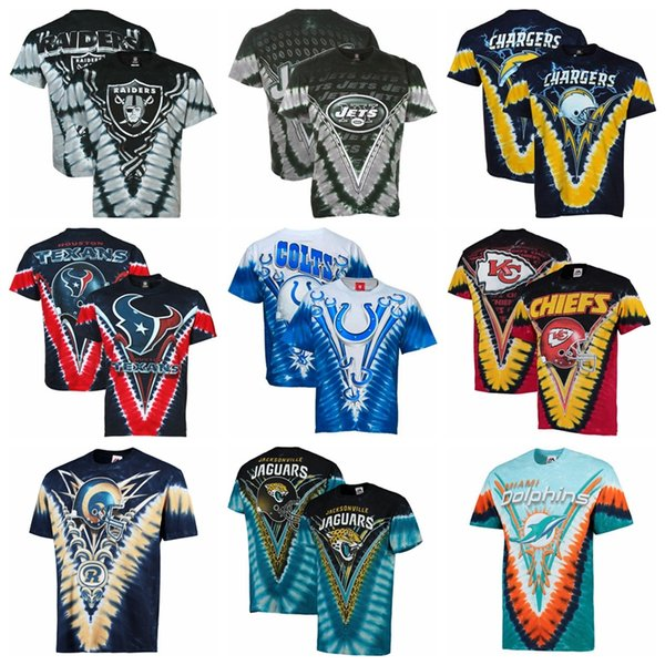 Yeni 2019 Erkekler Texans Colts Jaguars Chiefs Şarj Rams Yunuslar Lacivert V-Boya Logosu T-shirt Pamuk En Kaliteli