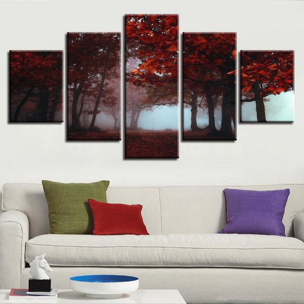 Canvas Printed Paintings Modular 5 Pieces Red Forest Maple Leaf Trees Poster Living Room Scenery Pictures Framework Home Decoration