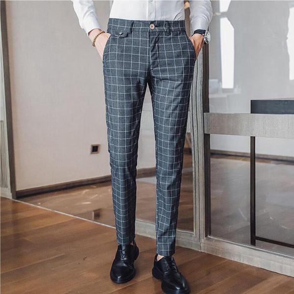 2019 Men high-grade Pure cotton grid Business suit pants/Men High quality slim Fit stripe Casual trousers/Plus size 28-38