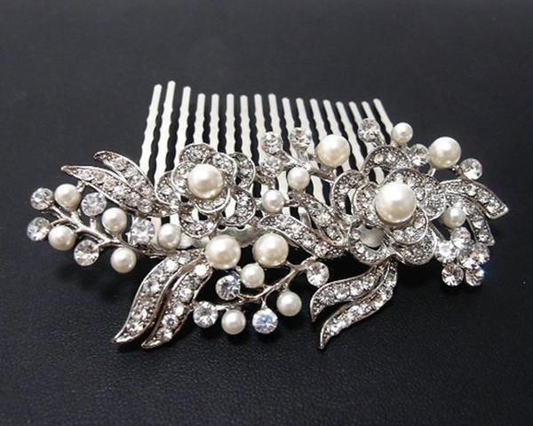 Nouveau dames d'argent strass mariée mariage fleur perles Bandeau peigne pince à cheveux