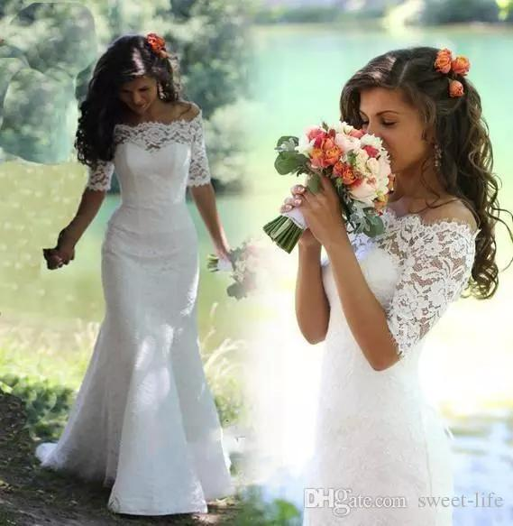 Newest Fashion White Ivory Full Lace Wedding Dresses Mermaid Bateau Half Sleeve Sweep Train Country Bridal Gowns for Bridal