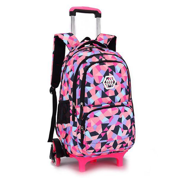 waterproof Trolley Backpack Kids Removable Children School Bags Wheels for Girls schoolbags Wheeled Bag Bookbag travel luggage
