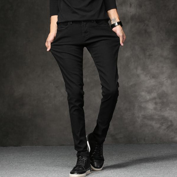 Casual slim elastic black jeans Slim Solid Color Cotton men's Full pencil pants skinny jeans men Hot Fashion Trend