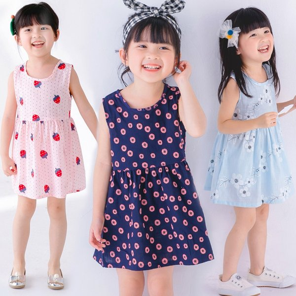 Baby Girl Cotton Vest Flower Dress Kids Vest Dress Baby Girls Floral T - shirt Dress Child Strawberry Vest Skirt
