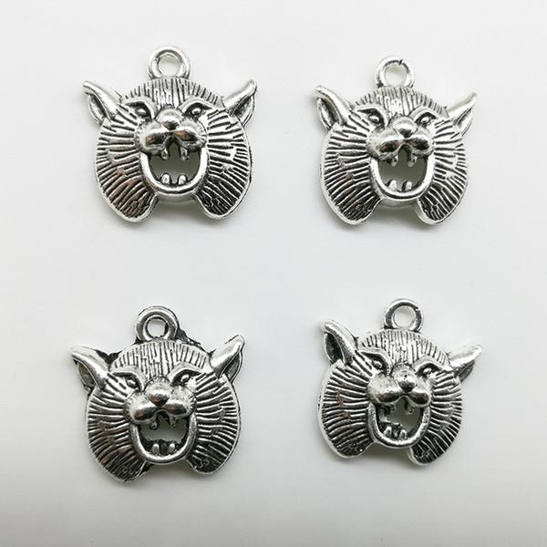 Лот 50 шт. Медвежья голова античное серебро подвески подвески ювелирные изделия DIY для ожерелье браслет серьги ретро стиль 20 * 20 мм