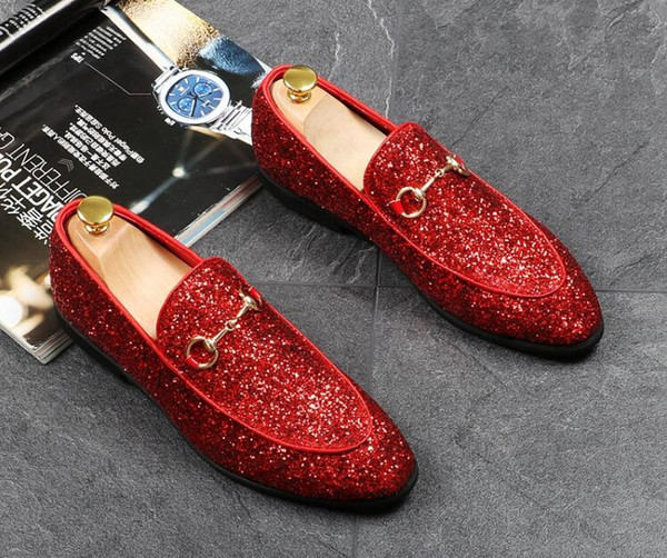 Hot Sale-Newest Fashion glitter sequins metal buckle pointed shoes Man's gold Formal Shoes For Homecoming Wedding Business Christmas gift