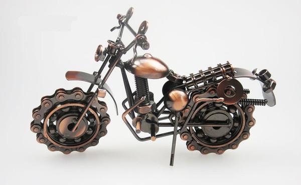 오토바이 모델 장난감 철 아트 쇼 금속 유물 골동품 가정용 오토바이 모델 창조적 인 선물의 조각을 보여줍니다
