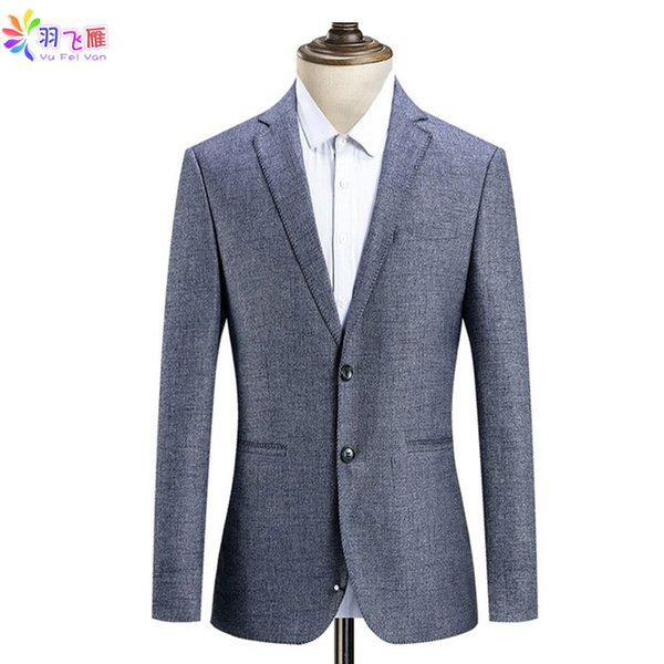 Acheter Yufeiyan 2019 Printemps Casual Slim Fit Blazer Costume De Mariage Formel Daffaires Veste Grande Taille 4xl Gris Single Breasted Blazer Casual