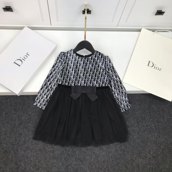 Kız dikiş elbise çocuklar giysi tasarımcısı sonbahar yeni kadife + vual elbise yay tasarım kaplı pamuk elbise