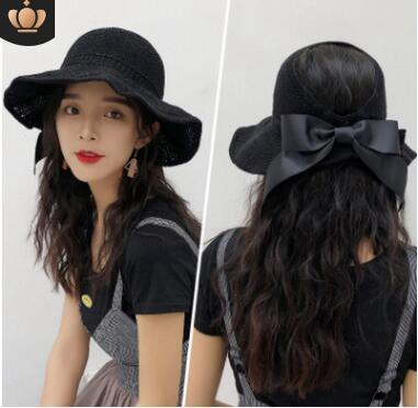 7 Colors Beach Cap Summer Hats Fashion Bowknot Sun Visor Women small Brimmed Hat Ladies Straw Hats Folding parent-child hat 10pcs HOT sale