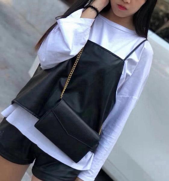 Bolso de las mujeres genuinas de calidad al por mayor, estilo caliente 401233 bolso de cadena de cuero, bolsos de hombro de 20 cm Múltiples bolsas de asiento, Enviar la caja