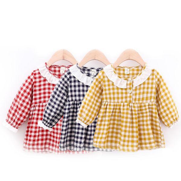 Nuovi vestiti casuali delle neonate di autunno Vestiti a maniche lunghe dal plaid di cotone dei bambini Vestiti da neonata della neonata della principessa Sundress