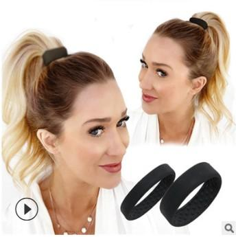 50pc lot ilicone foldable tationarity hair donut pony o ponytail hair tie black beige brown bubble acce orie ha585, Black;brown