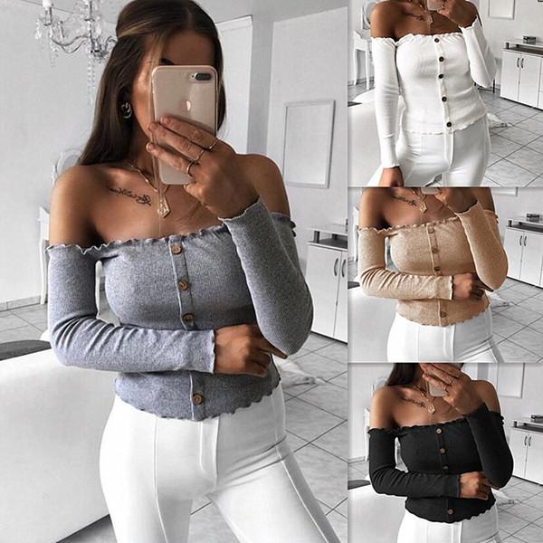 Mujeres Bardot Blusa corta Tops fuera del hombro de manga larga con volantes Tees cortos de primavera verano camiseta ocasional Club Sexy Blusas DZG1103