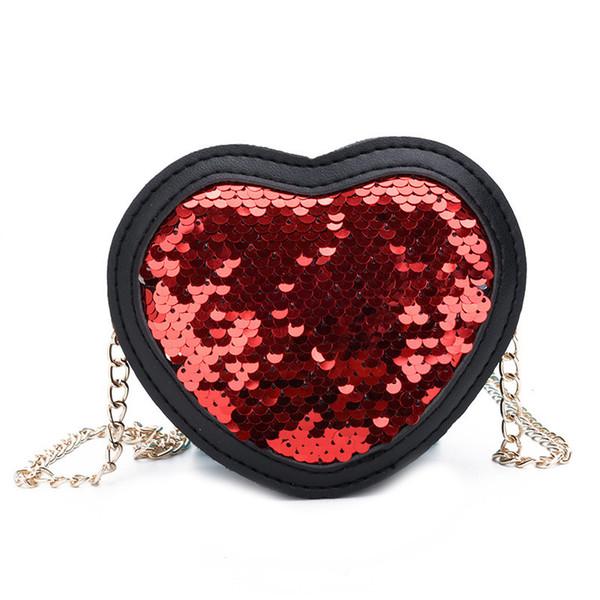 Boutique hot sale 2019 spring and summer new shoulder bag cute peach heart sequins Messenger bag trend baby mini bag female