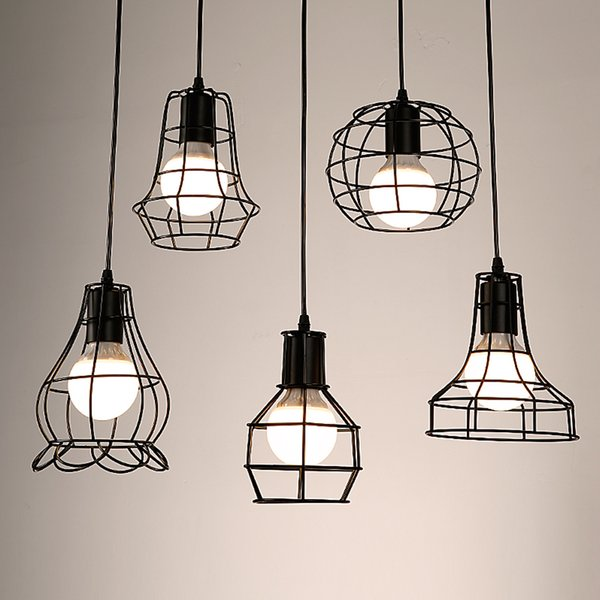 Retro Metall Lampenschirm Deckenschirm Lampe DIY Lampenschirm Industrielampe Wasser Form Käfig Classic Black Nordic Bulb Cover