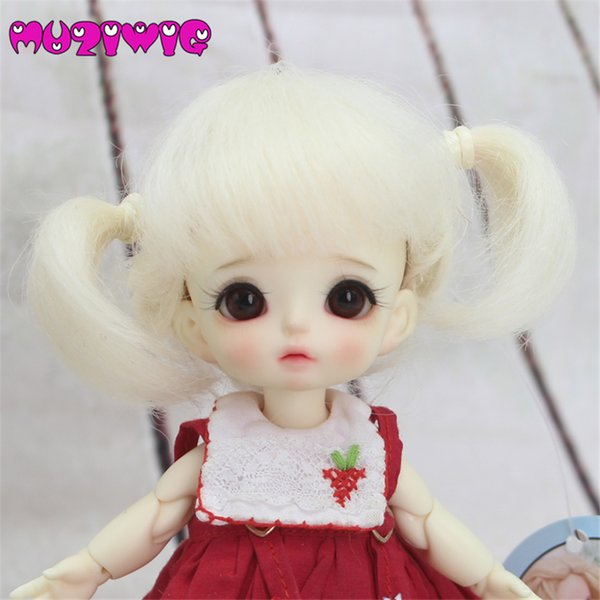 Doll accessories 1/8 Mohair Long Curls hair with air bangs and Ponytail for 1/8 bjd dolls free shipping