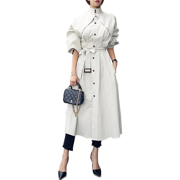 Work Wear Spring Autumn Long Coat Trench 2019 Women's Japan Style Trench Outwear Long Sleeve Elegant coat With Sashes