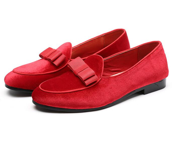 Gentlemen Bowknot Wedding Dress Male Flats Casual Slip on Shoes Black Patent Leather Red Suede Loafers Men Formal Shoes 46 47 48