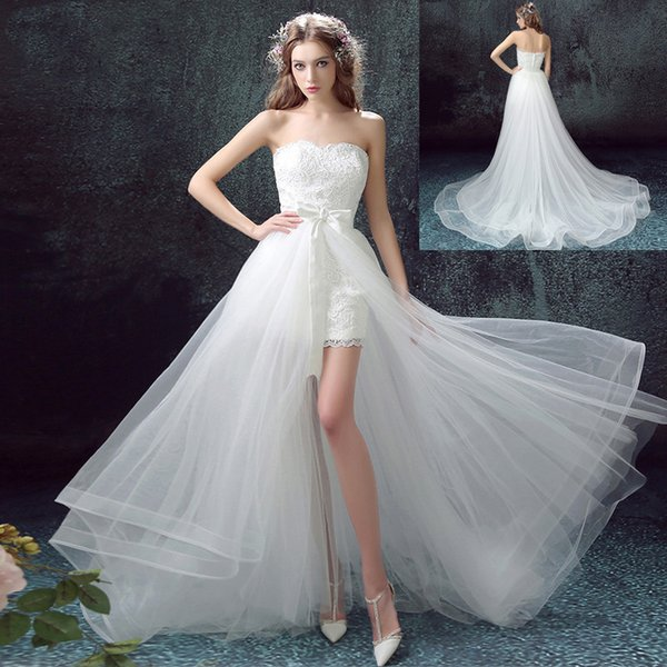 Sexy Sweetheart White Lace Beach Wedding Dresses 2019 Tull Skirt Detachable Train Bridal Gowns Custom Two Pieces Country Wedding Gowns Boho