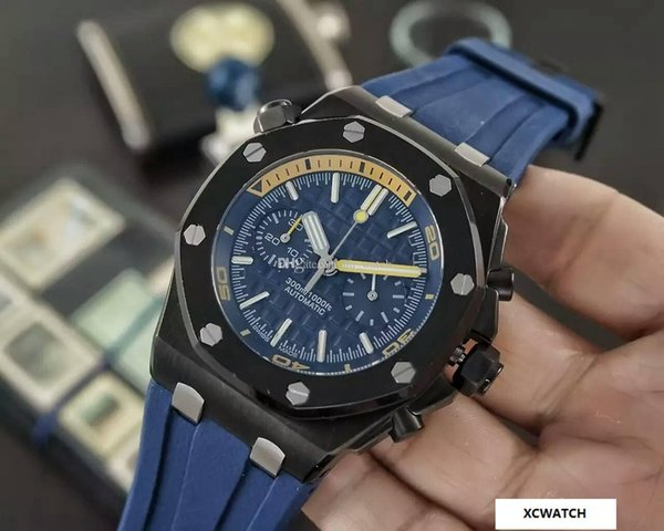 Luxury Brand Fashion Sports AAA Quality 26703ST Royal Oak Men's Watch Quartz Multifunction Timepiece 43mm Mineral Tempered Glass