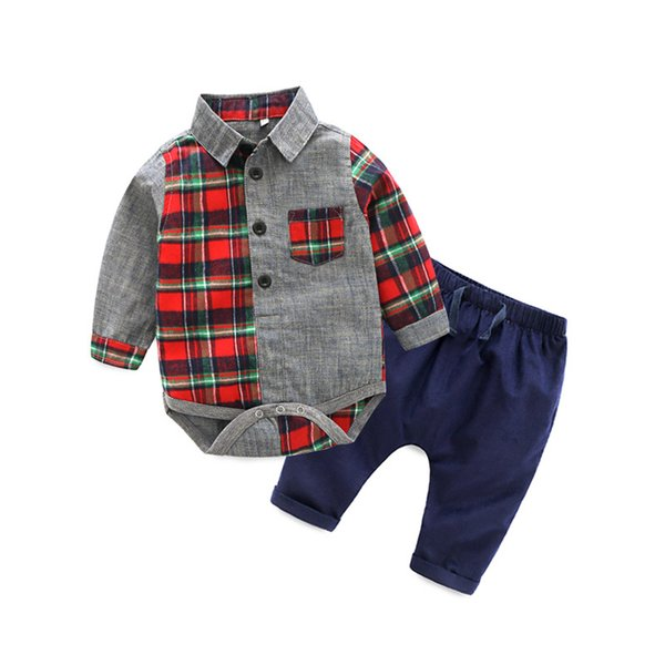 Cute Baby Boys Plaid Patchwork Rompers and Pants 2pcs Sets Candy Color Western Fashion Spring Autumn Children Clothing