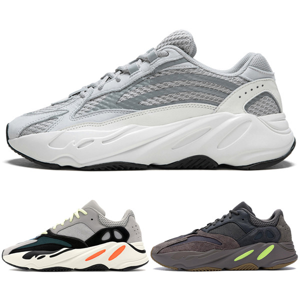 2019 Mauve 700 Wave Runner Mens Women Designer Sneakers New 700 V2 Static Best Quality Kanye West Sport Shoes With Box 5-11.5