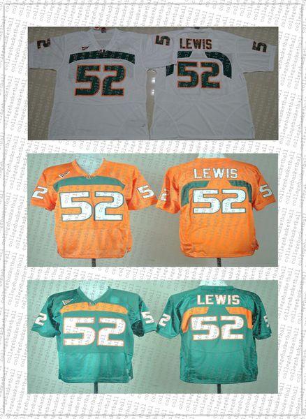 barato costume Ray Lewis # 52 College Football Jersey Miami Hurricanes costurado de alta qualidade XS-5XL