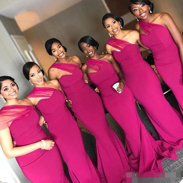 2020 Simple Fuchsia Bridesmaid Dresses Mermaid One Shoulder Sweep Train Tulle Chiffon African Plus Size Maid of Honor Gown Custom Made