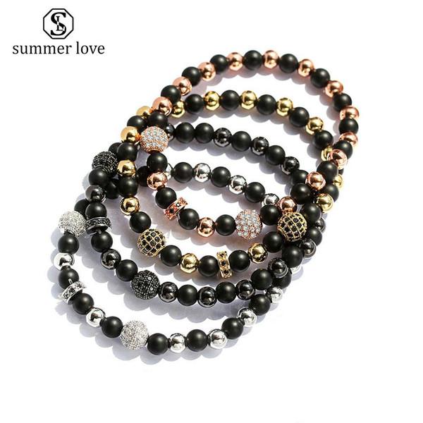 High Quality 6MM Matte Black Nature Stone Beads Bracelet for Women Men Elastic Silver Gold Rose Gold Copper Beads Charm Bracelet Jewelry