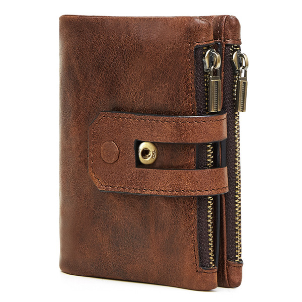 Cowhide Leather Men Wallet Short Coin Purse Small Vintage Wallets