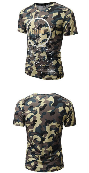 Wholesale 2018 Summer Fashion V Collar T-shirt, Men's Camouflage Print Short Sleeve Casual Cotton Couple Sweetheart T-shirt