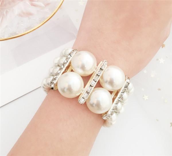Mode quatre - rangée taille perle bracelet ensemble diamant bijoux bracelet élastique offre boutique femme gros