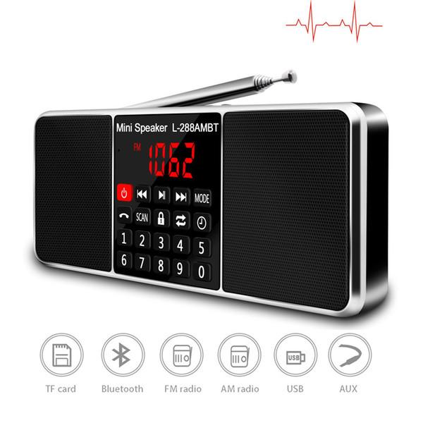 top popular Digital Portable Radio AM FM Bluetooth Speaker Stereo MP3 Player TF SD Card USB Drive Handsfree Call LED Display Screen L 288AMBT 2021