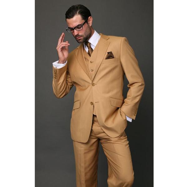Homens clássico Khaki Suit Slim Fit casamento moderno Blazer Outfit ternos feitos sob encomenda do casamento 3 peça (Blazer + calça + Vest) K587